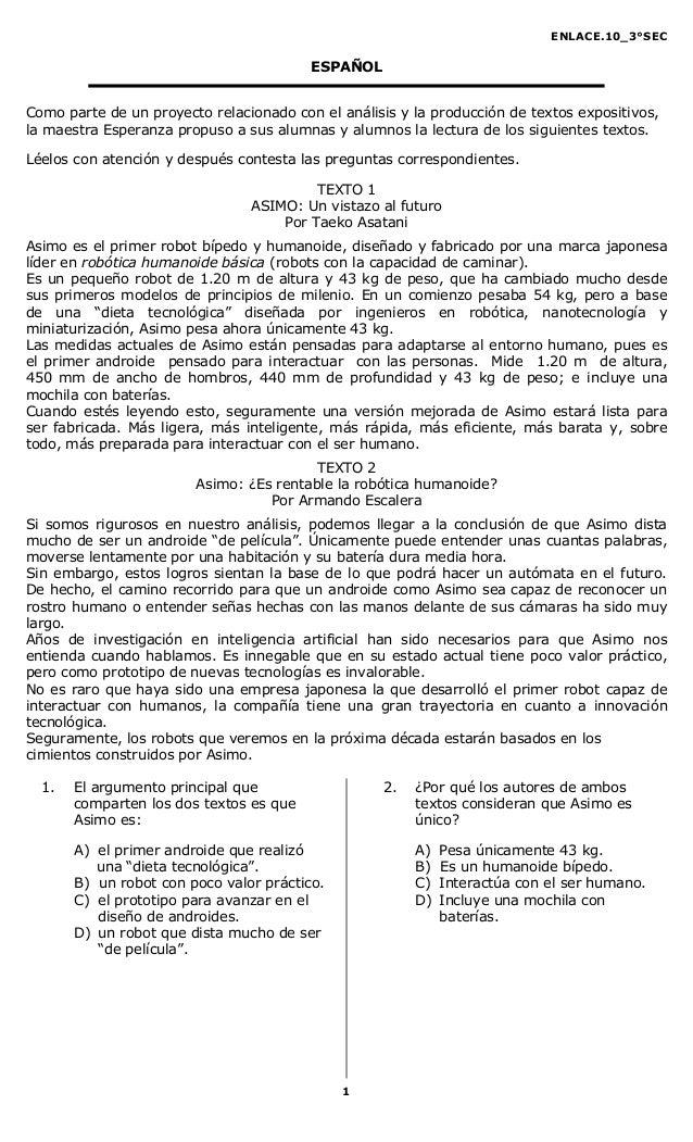 ENLACE.10_3°SEC                                         ESPAÑOLComo parte de un proyecto relacionado con el análisis y la ...