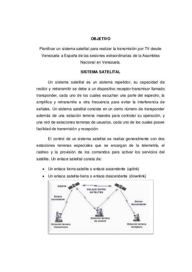 OBJETIVO Planificar un sistema satelital para realizar la transmisión por TV desde Venezuela a España de las sesiones extr...