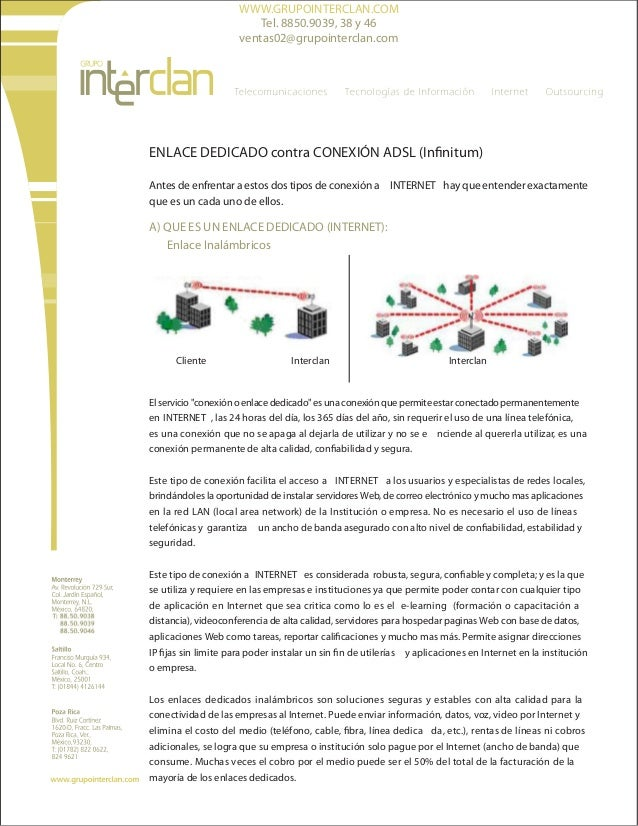 WWW.GRUPOINTERCLAN.COM Tel. 8850.9039, 38 y 46 ventas02@grupointerclan.com  ENLACE DEDICADO contra CONEXIÓN ADSL (Infinitu...