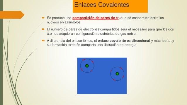 Enlaces Covalentes  Se produce una compartición de pares de e-, que se concentran entre los núcleos enlazándolos.  El nú...
