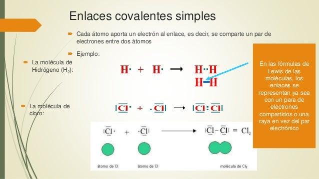 Enlaces covalentes simples  Cada átomo aporta un electrón al enlace, es decir, se comparte un par de electrones entre dos...