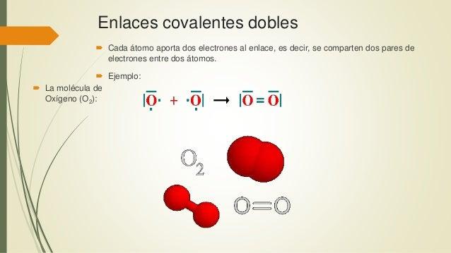 Enlaces covalentes dobles  Cada átomo aporta dos electrones al enlace, es decir, se comparten dos pares de electrones ent...