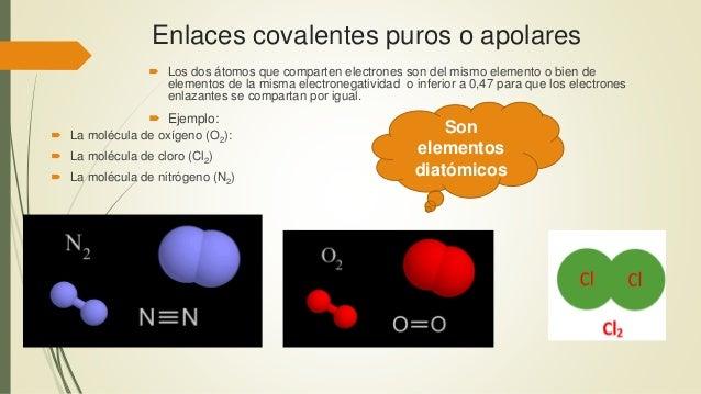 Enlaces covalentes puros o apolares  Los dos átomos que comparten electrones son del mismo elemento o bien de elementos d...