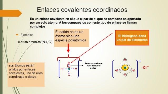 Enlaces covalentes coordinados Es un enlace covalente en el que el par de e- que se comparte es aportado por un solo átomo...