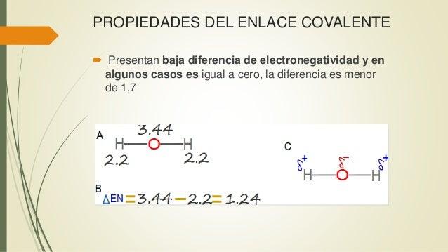 PROPIEDADES DEL ENLACE COVALENTE  Presentan baja diferencia de electronegatividad y en algunos casos es igual a cero, la ...