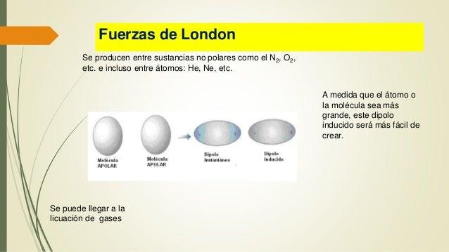 Fuerzas de London Se producen entre sustancias no polares como el N2, O2, etc. e incluso entre átomos: He, Ne, etc. A medi...