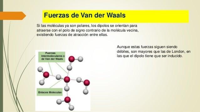 Fuerzas de Van der Waals Si las moléculas ya son polares, los dipolos se orientan para atraerse con el polo de signo contr...