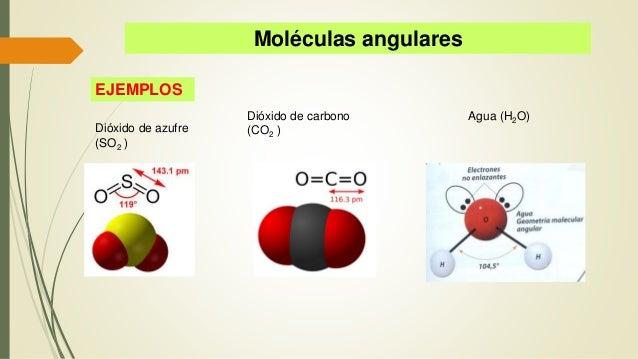 Moléculas angulares EJEMPLOS Dióxido de azufre (SO2 ) Dióxido de carbono (CO2 ) Agua (H2O)