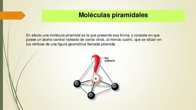 Moléculas piramidales En efecto una molécula piramidal es la que presenta esa forma, y consiste en que posee un átomo cent...