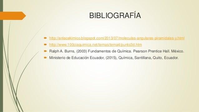 BIBLIOGRAFÍA  http://enlacekimico.blogspot.com/2013/07/moleculas-angulares-piramidales-y.html  http://www.100ciaquimica....