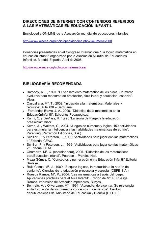 DIRECCIONES DE INTERNET CON CONTENIDOS REFERIDOS A LAS MATEMÁTICAS EN EDUCACIÓN INFANTIL Enciclopedia ON-LINE de la Asocia...