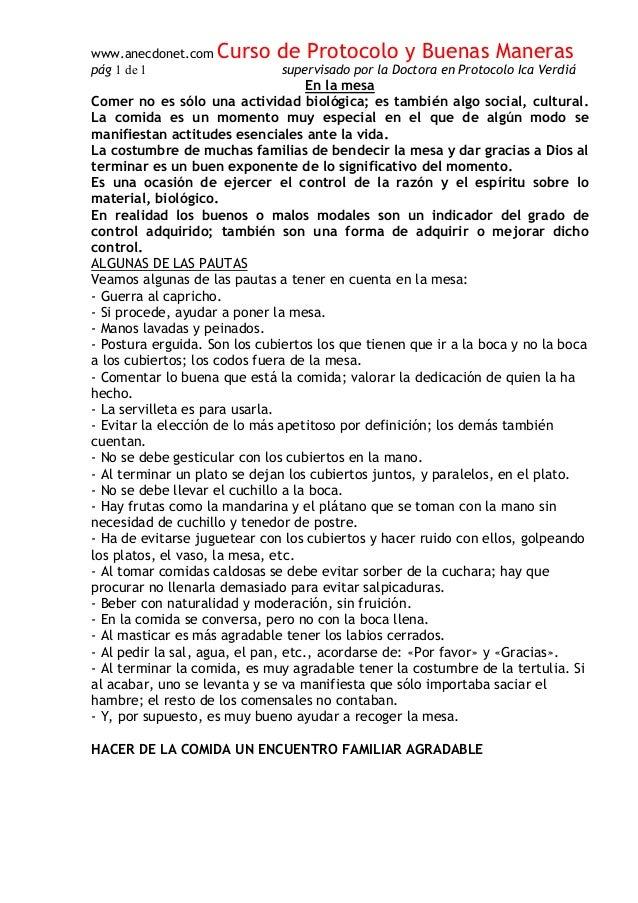 www.anecdonet.com Curso de Protocolo y Buenas Maneras p�g 1 de 1 supervisado por la Doctora en Protocolo Ica Verdi� En la ...
