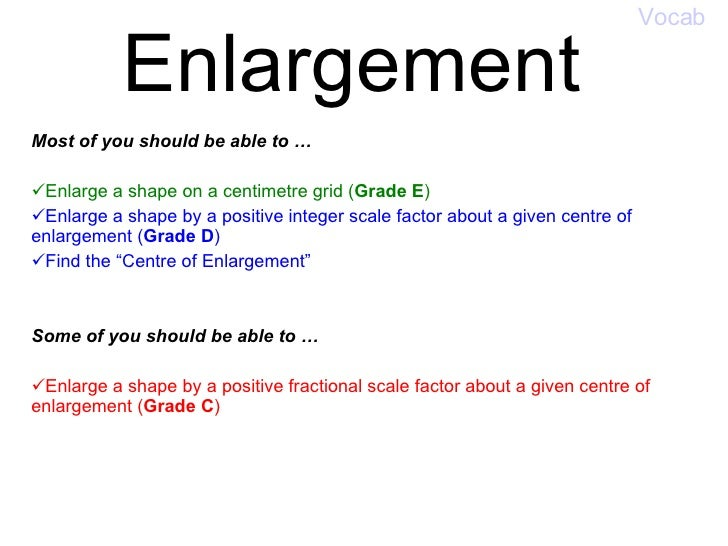 Enlargement <ul><li>Most of you should be able to … </li></ul><ul><li>  </li></ul><ul><li>Enlarge a shape on a centimetre ...