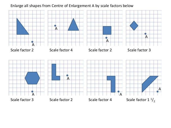 Printables Scale Factor Worksheet enlargements worksheet enlarge all shapes from centre of enlargement a by scale factors below