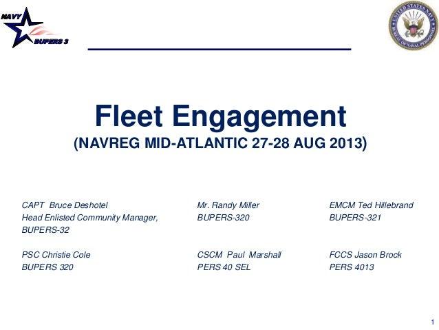 NAVY BUPERS 3 1 Fleet Engagement (NAVREG MID-ATLANTIC 27-28 AUG 2013) CAPT Bruce Deshotel Mr. Randy Miller EMCM Ted Hilleb...