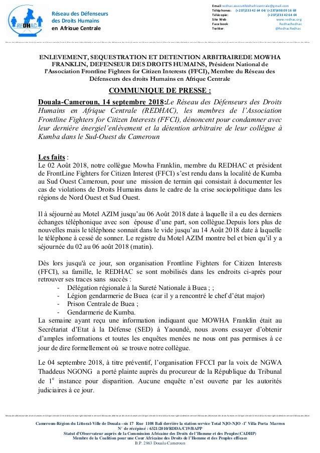 Réseau des défenseurs des droits humains en Afrique centrale Central Africa human rights defenders network Réseau des défe...