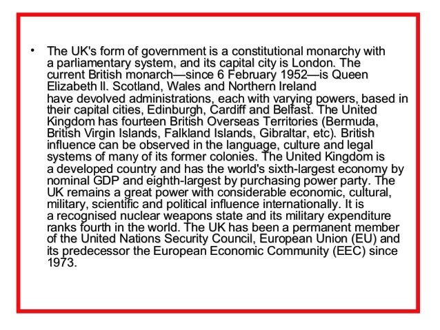 The history and political system of the United Kingdom
