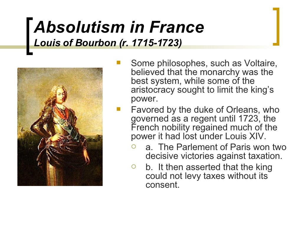 king louis xiv absolutism essays Kangxi vs louis xiv- absolutism absolute monarchy or absolutism means that the sovereign power or ultimate authority in the state rested in the hands of a king who claimed to rule by divine right.