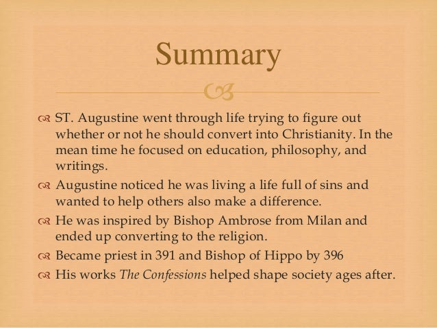 AUGUSTINE CONFESSIONS SUMMARY DOWNLOAD