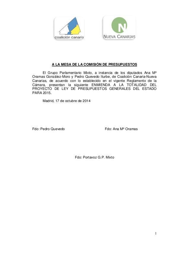 A LA MESA DE LA COMISIÓN DE PRESUPUESTOS  El Grupo Parlamentario Mixto, a instancia de los diputados Ana Mª  Oramas Gonzál...