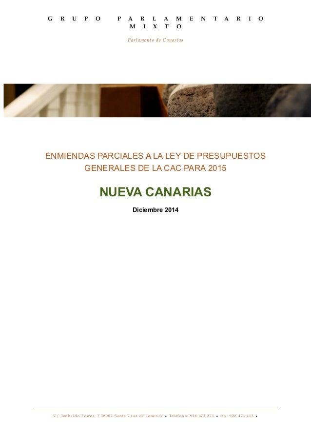 G R U P O P A R L A M E N T A R I O  M I X T O  Parlamento de Canarias  ENMIENDAS PARCIALES A LA LEY DE PRESUPUESTOS  GENE...