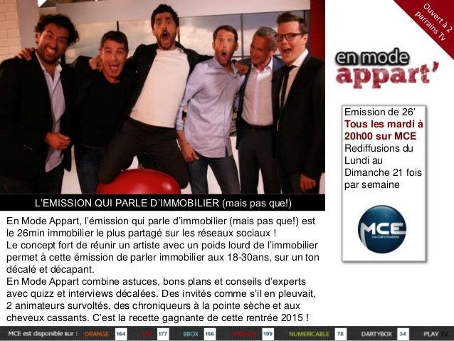 L'EMISSION QUI PARLE D'IMMOBILIER (mais pas que!)  En Mode Appart, l'émission qui parle d'immobilier (mais pas que!) est  ...
