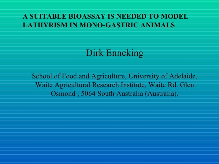 A SUITABLE BIOASSAY IS NEEDED TO MODEL LATHYRISM IN MONO-GASTRIC ANIMALS  Dirk Enneking School of Food and Agriculture, U...