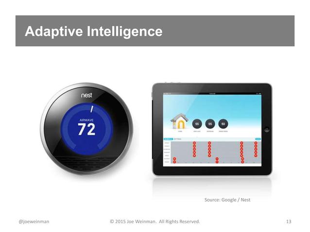 Adaptive Intelligence @joeweinman © 2015 Joe Weinman. All Rights Reserved. 13 Source: Google / Nest