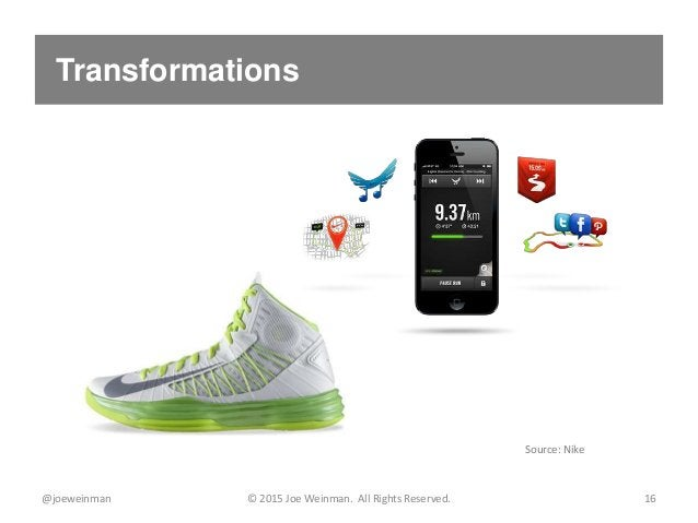 Transformations @joeweinman © 2015 Joe Weinman. All Rights Reserved. 16 Source: Nike