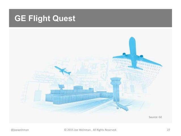 GE Flight Quest @joeweinman © 2015 Joe Weinman. All Rights Reserved. 27 Source: GE