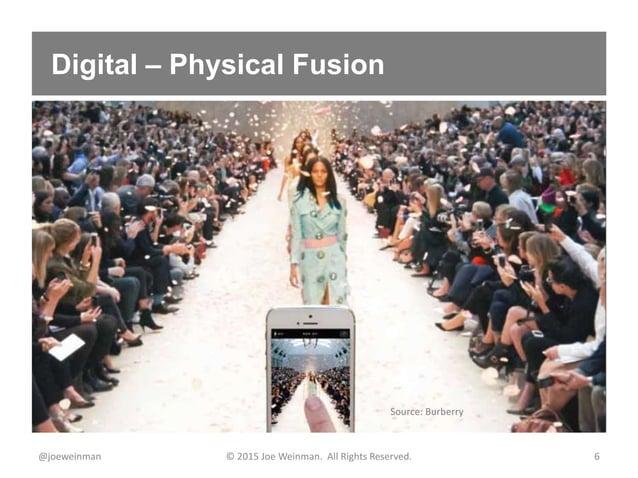 Digital – Physical Fusion @joeweinman © 2015 Joe Weinman. All Rights Reserved. 6 Source: Burberry