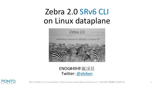 Zebra 2.0 SRv6 CLI on Linux dataplane Zebra 2.0 SRv6 CLI on Linux dataplane | Kentaro Ebisawa <ebiken@pontonetworks.com> |...