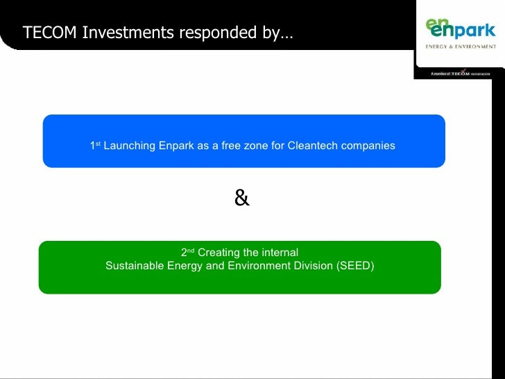 TECOM Investments responded by… 2 nd  Creating the internal Sustainable Energy and Environment Division (SEED) & 1 st  Lau...