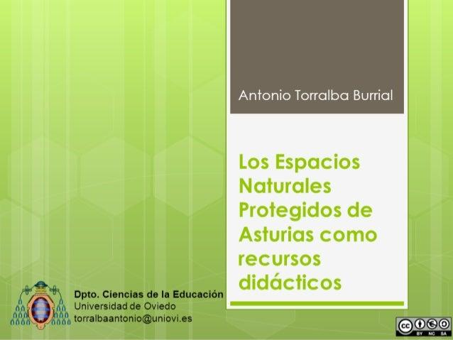 Antonio Torralba Burrial  Dpto. Ciencias de la Educación Universidad de Oviedo torralbaantonio@uniovi.es  Los Espacios Nat...