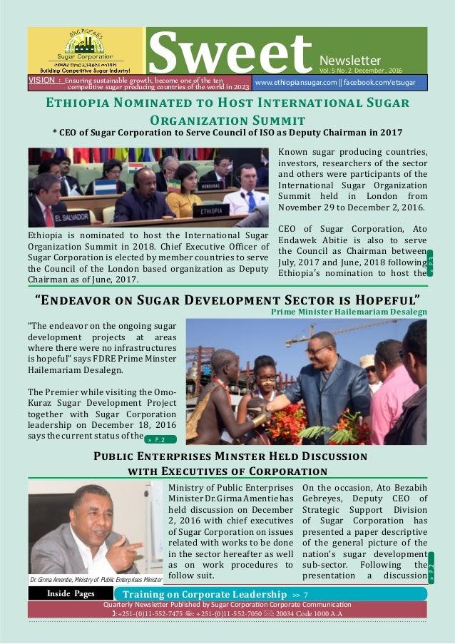 Ethiopian Sugar Corporation Newsletter (Sweet ) - Vol  5 No  2 Decem…