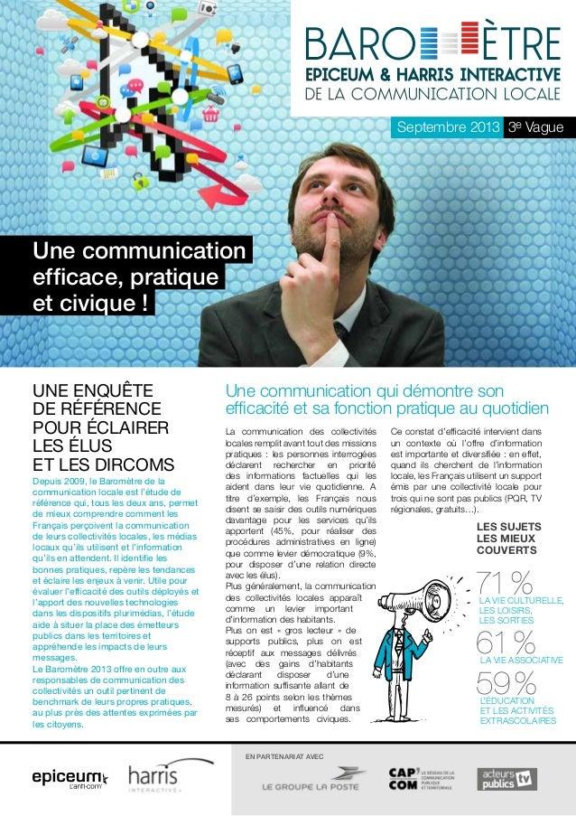 Septembre 2013 3e Vague  Une communication efficace, pratique et civique !  Une enquête de référence pour éclairer les élu...
