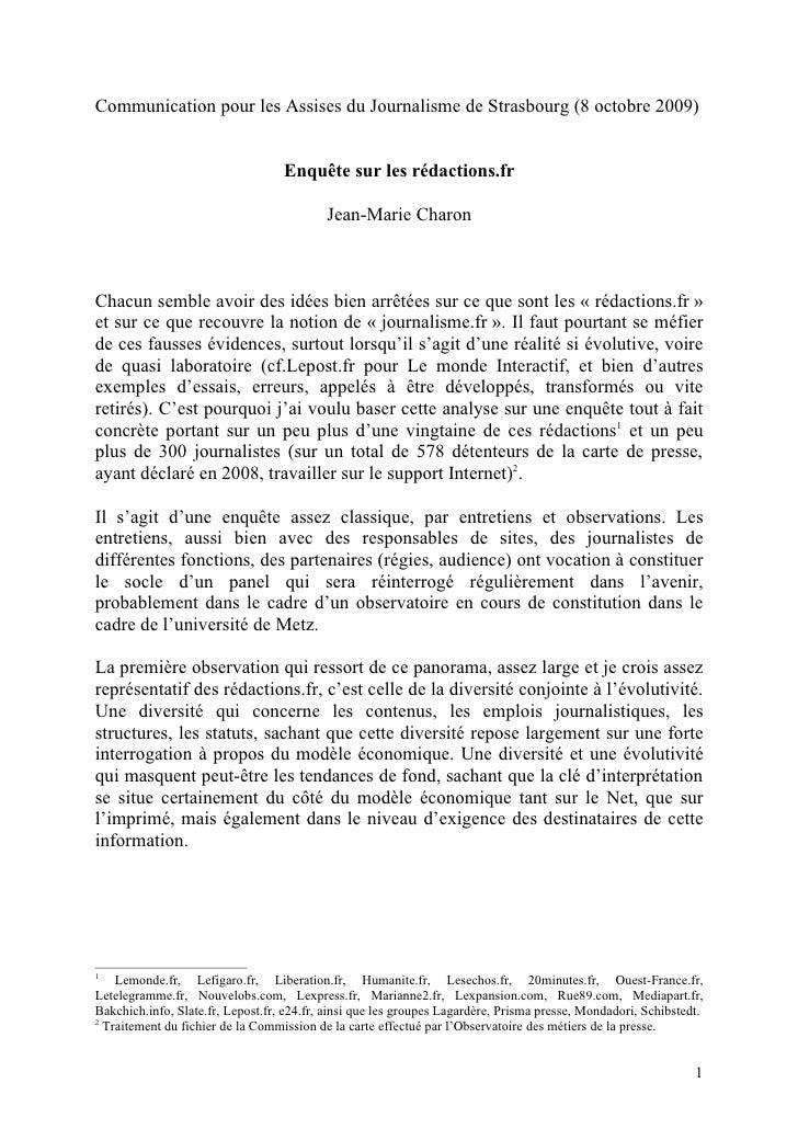Communication pour les Assises du Journalisme de Strasbourg (8 octobre 2009)                                      Enquête ...