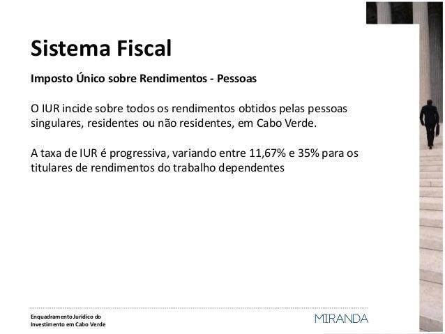 Imposto Único sobre Rendimentos - Pessoas  O IUR incide sobre todos os rendimentos obtidos pelas pessoas singulares, resid...