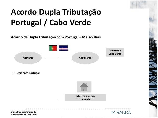 Acordo Dupla Tributação Portugal / Cabo Verde  Acordo de Dupla tributação com Portugal – Mais-valias  Alienante  • Residen...