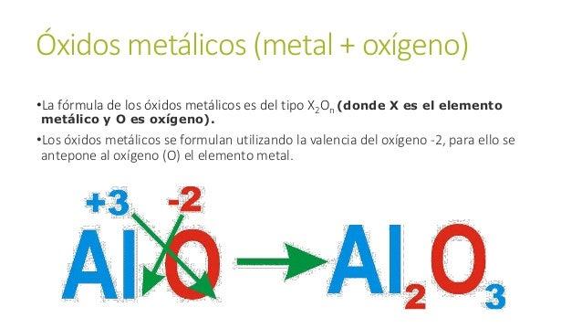 Óxidos metálicos (metal + oxígeno) •La fórmula de los óxidos metálicos es del tipo X2On (donde X es el elemento metálico y...
