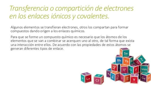Transferencia o compartición de electrones en los enlaces iónicos y covalentes. Algunos elementos se transfieran electrone...