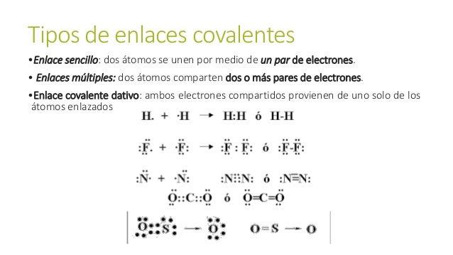 Tipos de enlaces covalentes •Enlace sencillo: dos átomos se unen por medio de un par de electrones. • Enlaces múltiples: d...