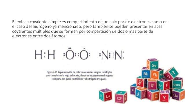 El enlace covalente simple es compartimiento de un solo par de electrones como en el caso del hidrógeno ya mencionado; per...