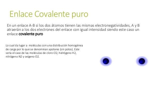 Enlace Covalente puro En un enlace A-B si los dos átomos tienen las mismas electronegatividades, A y B atraerán a los dos ...