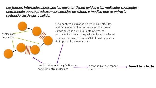 Fuerza intermolecular en general son más débiles que los enlaces entre los átomos de una molécula (son mil veces menos fue...