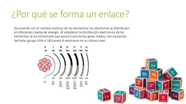 ¿Por qué se forma un enlace? De acuerdo con el número atómico de los elementos, los electrones se distribuyen en diferente...