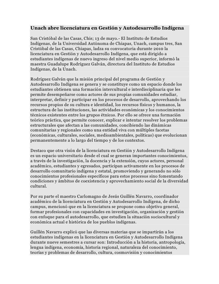 Unach abre licenciatura en Gestión y Autodesarrollo IndígenaSan Cristóbal de las Casas, Chis; 13 de mayo.- El Instituto de...