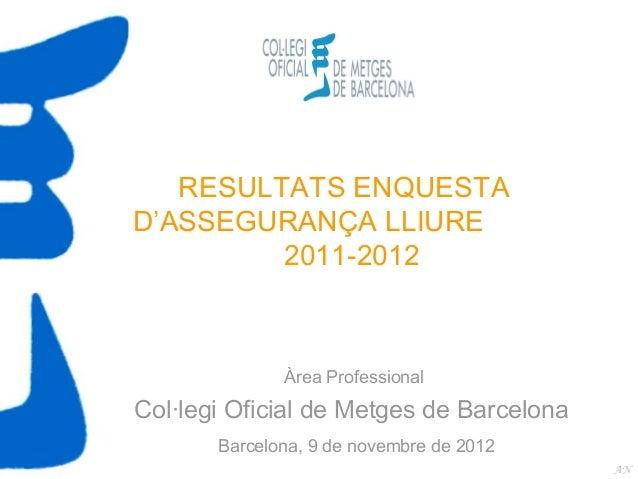 RESULTATS ENQUESTAD'ASSEGURANÇA LLIURE         2011-2012              Àrea ProfessionalCol·legi Oficial de Metges de Barce...