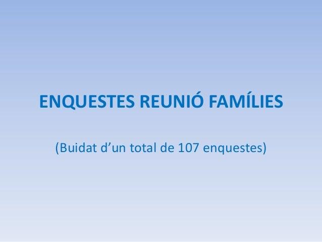ENQUESTES REUNIÓ FAMÍLIES (Buidat d'un total de 107 enquestes)