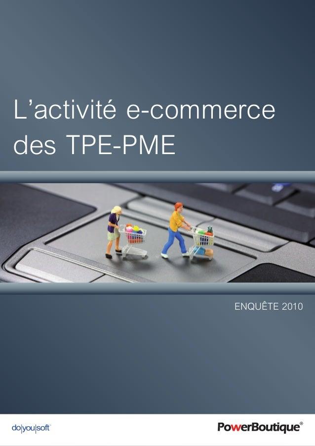 L'activité e-commerce des TPE-PME Enquête 2010
